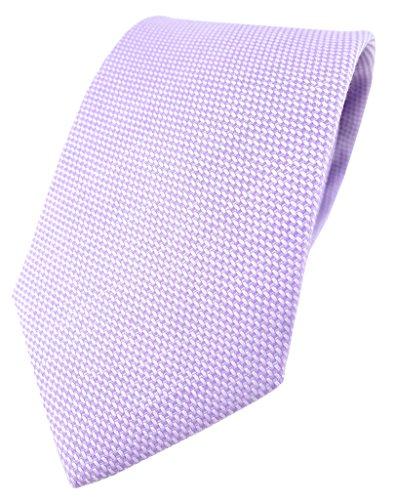 TigerTie Designer Krawatte Pique in flieder gemustert - 100% Baumwolle - Krawattenbreite 8 cm