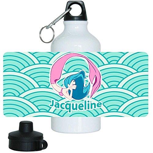 Trinkflasche mit Namen Jacqueline und schönem Motiv mit Meerjungfrau in türkis für Mädchen | Aluminium-Trinkflasche