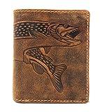 Billetera pequeña de piel auténtica con protección RFID, cartera de pesca, pescado, lucio