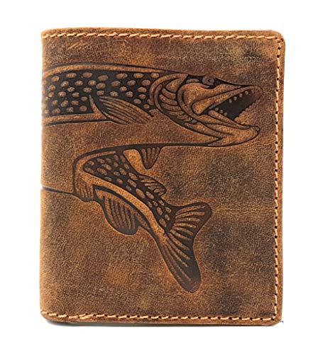 kleine echt Leder Geldbörse hoch mit RFID Schutz Hunterleder Portemonnaie Anglerbörse Fisch Hecht