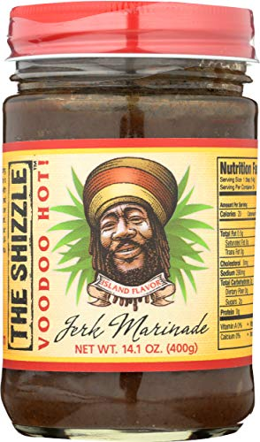 The Shizzle VooDoo Hot Jerk Seasoning Marinade (Single) – 14 Ounce Jar – Authentic Island Flavor w/ Pineapple Base – Spicy Rub – Sauce for Chicken, Pork, Etc