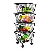 DnKelar cestas de frutas con ruedas, cesta de alambre de metal apilable, cesta...