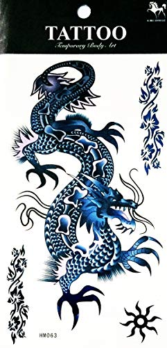 NipitShop 1 Bogen temporäre Tattoo groß 3D Drache blau wasserfest ablösbar Body Sticker Sexy Tattoo