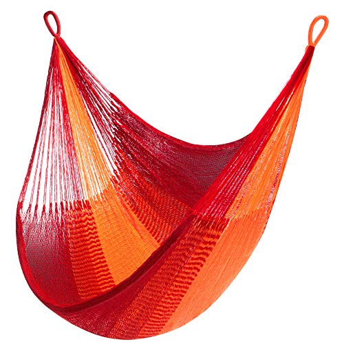 Yellow Leaf Hammocks | Sedona Hammock | Hanging Chair Hammock Swing | Fits 1 Person (330 lbs) | Red & Orange | Handwoven by Mlabri Tribe, Shareable, Weathersafe Hammocks
