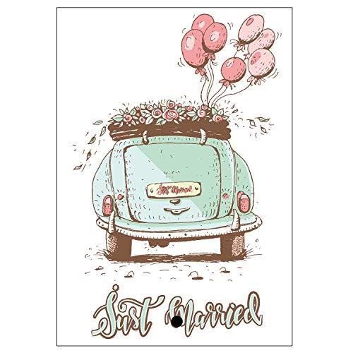 50 Ballonflugkarten 10,8x14,6cm leichte Ballonkarten wetterfest versch. Motive für einen weiten Flug gelocht Flugkarten Postkarten für Luftballons und Herzluftballons (Auto - just married)