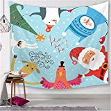 Lushi Navidad colgante paño de fondo de tela de dibujos animados de Papá Noel dormitorio decoración de tela de cabecera tapiz, playa toalla de protección solar