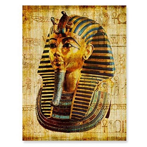 HENGCHENG Leinwandbilder Deko Ägypten Wandkunst Leinwand Poster Pergamentpapier Stil Alt Antik Poster Drucke Retro Ägyptische Bild Wanddekoration König TUT Königin, Weiß, 40X50 cm Ohne Rahmen