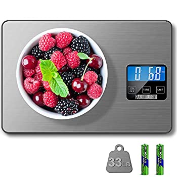 HDJUNTUNKOR Food Scale 33lb Digital Kitchen Scale Weight Grams and Ounces for Cooking Baking 1g/0.1oz Precise Graduation 5 Units LCD Display Scale Stainless Steel and Tempered Glass