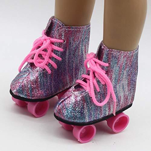 POHOVE Rollschuhe mit Rollschuhen, Eisstiefeln, Spielzeug, Geburtstagszubehör, Mini-Schuhe, glänzend, modisch, für Mädchen, Unterhaltung für Babys, Puppen, 45,7 cm (Rosa)