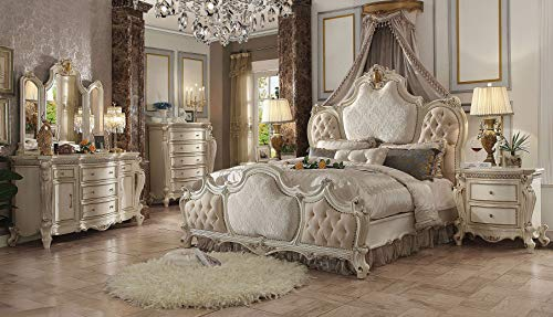 Best Prices! Esofastore Antique Pearl Tufted Fabric Bedroom Home Furniture Set Queen Size Bed 4pc Se...