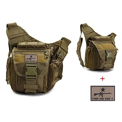 Klau Sport Outdoor Military Women and Men's Multi-Functional Tactical Messenger Shoulder Bag with Patch for Hunting Hiking Climbing Khaki