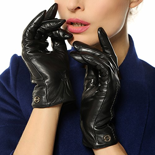 ELMA Women's Supple Nappa Leather Winter Warm Gloves Cashmere Lining Gold Plated Logo (M, Black)