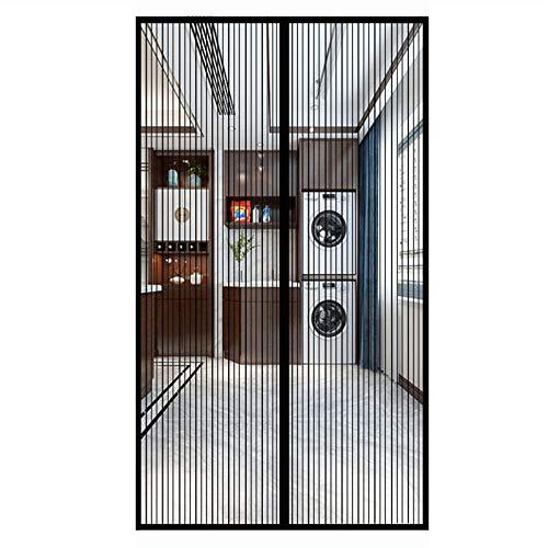 Magnet Fliegengitter Tür , Netz vor Insekten wie Fliegen und Mücken, Magnetverschluß, Klebmontage ohne Bohren, Fliegenvorhang für Balkontür, Schwarz, (78x84inch)200x215cm