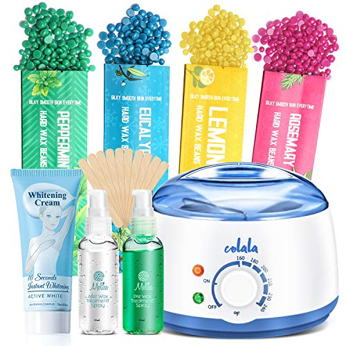 2020 Upgrade Waxing Kit Whitening Cream for Armpits, Hair Removal Home Wax Warmer with 4 Flavors Stripless Hard Wax Beans 20 Wax Applicator Sticks Waxing Kit for Body Eyebrows, Face, Bikini, for Women