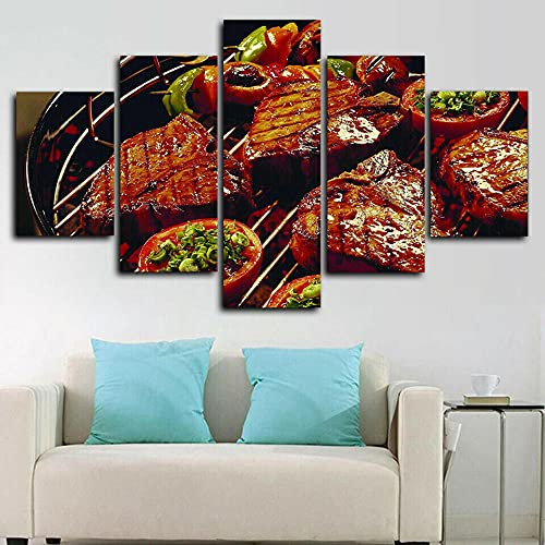 VYQDTNR - 5 Panel Canvas Prints Wall Art Barbecue BBQ Grill Restaurant Pictures Painting for Living Room Bedroom Home Decorations Modern Stretched and Framed