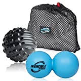 Deep Tissue Massage Ball Set – Includes Double Peanut Lacrosse Ball & Trigger Point Mobility Ball for Physical Therapy, Myofascial Release, Muscle Relaxer, Recovery, Acupoint Massage