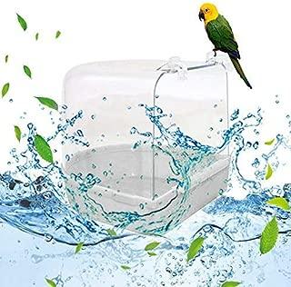 Azzurro POPETPOP Vasca da Bagno Pappagallo Vasca da Bagno in Gabbia Bagno con Gabbia Multipla Coperta 13,5 x 13 x 12,5 cm per Piccoli Animali Canarino Budgies Pappagallo