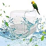 SUNJULY Bagno per Uccelli Esterno, Portatile Vasca per Uccelli Pappagallo per Uccelli Coperta per Piccoli Animali Canarino Pappagallini Pappagallo, Bianco