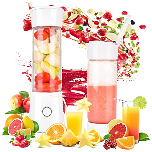 Tyhbelle Mini Blender Smoothie Maker 480ml Portable Blender USB Rechargeable Personal Fruit Blender Juicer Mixer with Cup Cleaning Brush White 7.5x25.5cm