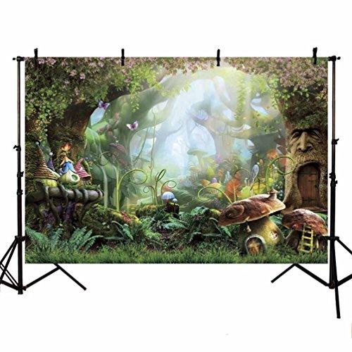 MEHOFOTO - Cartel con fotografía de cuento de hadas, bosque encantado, para decoración de fiesta de cumpleaños para niños de 2,13 m x 1,52 m