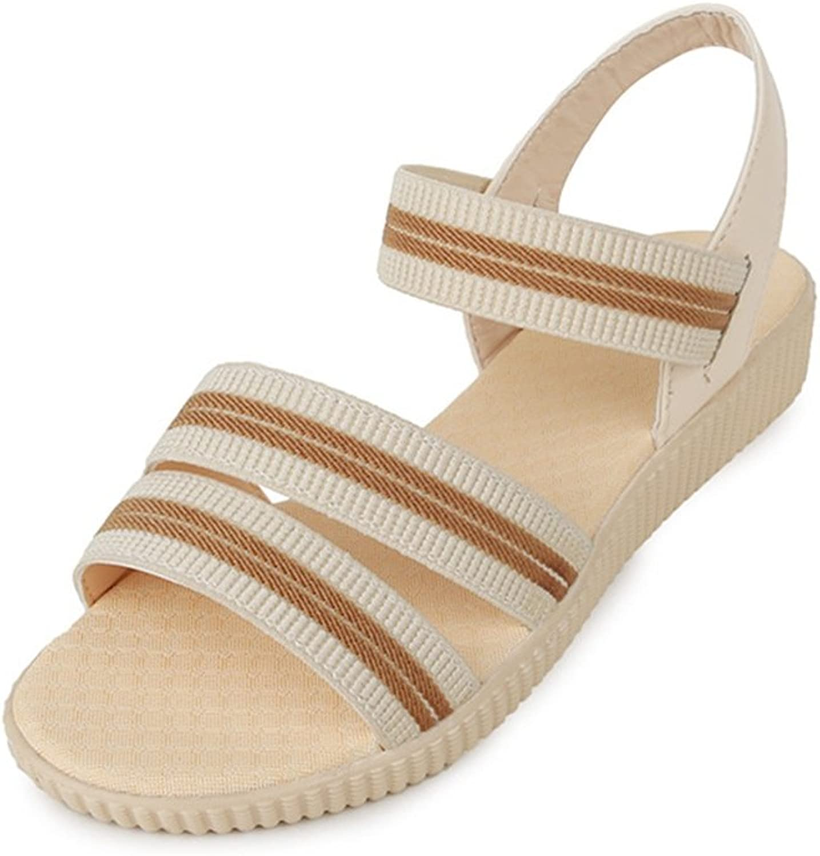Zarbrina Girls Flat Sandals Womens Elastic Stripe Summer Low Heels Slingback Casual Open Toe Beach shoes