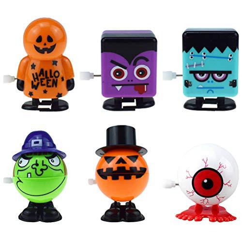 SOIMISS 1 Unidades 6 Unids Halloween Wind Up Toy Pop- Up Toy Pumpkin Witch Eyeball Pattern Clockwork Toy (Naranja Verde Púrpura) Disfraz de Halloween