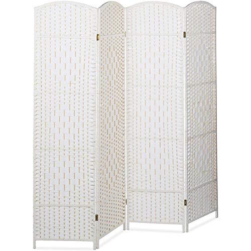 HOGAR Y MAS Biombo Separador de 4 Paneles Indian, Pantalla Plegable, Madera y Bambú 180x180x2cm - Blanco