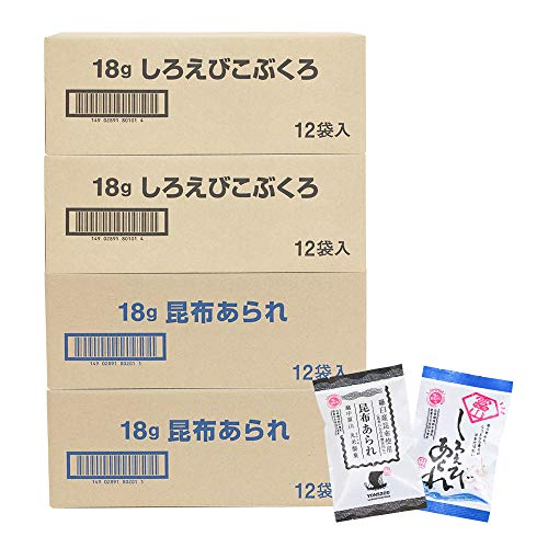 米蔵 あられ2種セット 国産もち米使用 富山 丸米製菓 (48袋(しろえびこぶくろ24袋、昆布あられ24袋))
