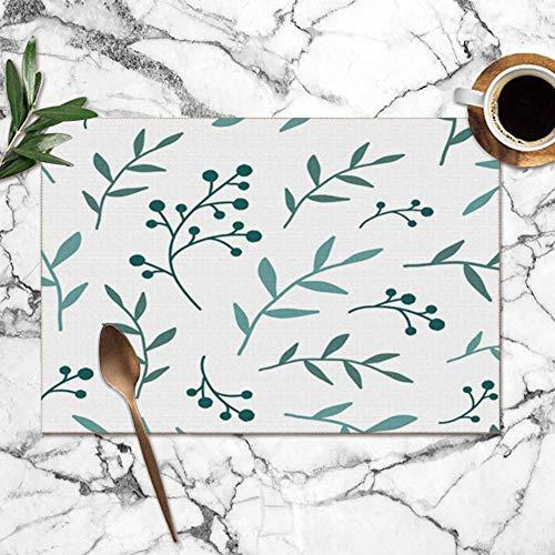 Tommy Warren Manteles Individuales, Textura Floral Bayas Azules Manteles Individuales Resistentes al...