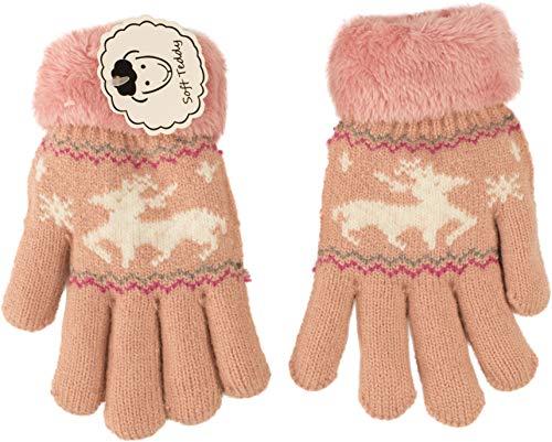 fashionchimp ® Fingerhandschuhe für Kinder mit Wolle, Rentier-Motiv, Soft-Teddy Innenfutter, Kinder 6-7 Jahre (Rosa)