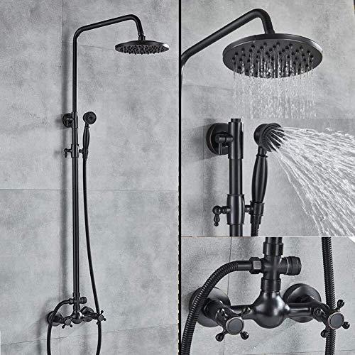 BINGFANG-W Baño de ducha negro bronce fijados con 8 'lluvia alcachofa de ducha con ducha de mano y soporte de pared Ducha