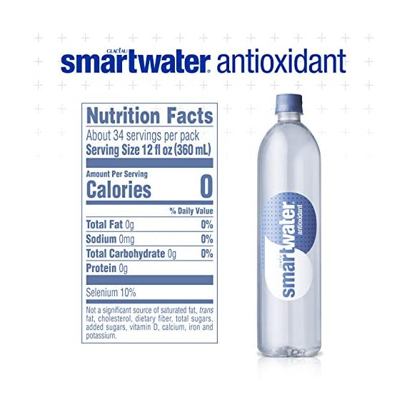 Smartwater antioxidant, 33. 8 fl oz bottles, pack of 12 5 purity you can taste. Hydration you can feel. Your newest way to hydrate the smartwater you love with a smart new twist. Vapor distilled water for purity, added electrolytes for taste and now infused with antioxidant selenium. Smartwater antioxidant water is the same crisp, clean water you love, it's vapor distilled, with added electrolytes for taste and infused with antioxidant selenium.