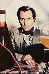 Color photograph of Peter Cushing as Dr. Frankenstein in The Evil of Frankenstein