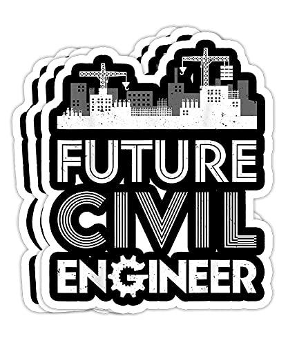 Future Civil Engineer Men Women Engineering Student - 4x3 Vinyl Stickers, Laptop Decal, Water Bottle Sticker (Set of 3)