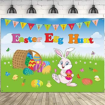 Easter Egg Hunt Party Decorations,Extra Large Fabric Easter Egg Bunny and Chick Sign Easter Hunt Game Background Banner Photo Booth Backdrop with Rope for Spring Easter Party Supplies,7 x 5 ft