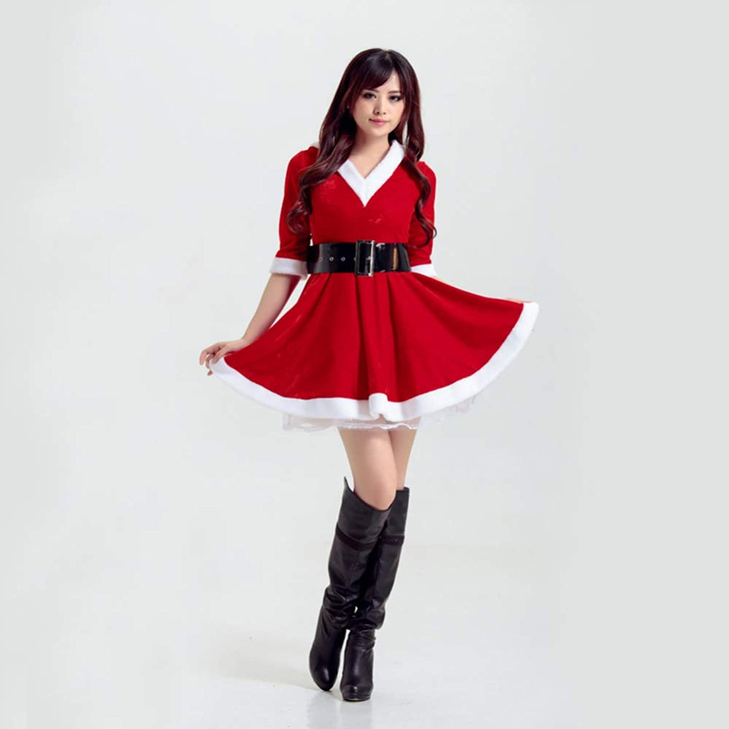 CVCCV 2018 New Red Christmas Costumes Girls Cos Performances Christmas Costumes Cotton Material