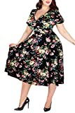 Nemidor Women's V-Neckline Stretchy Floral Print Midi Plus Size Casual Dress (16W, Black-Print)