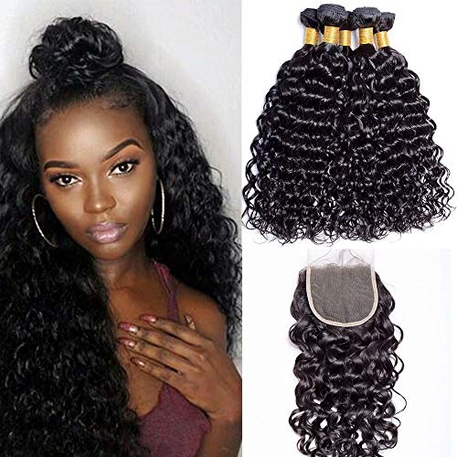 """Maxine 10A Brazilian Water Wave 3 Bundles with Closure Unprocessed Virgin Hair with 4""""4"""" Lace Closure Free Part Natural Color 16 18 20+14inch"""