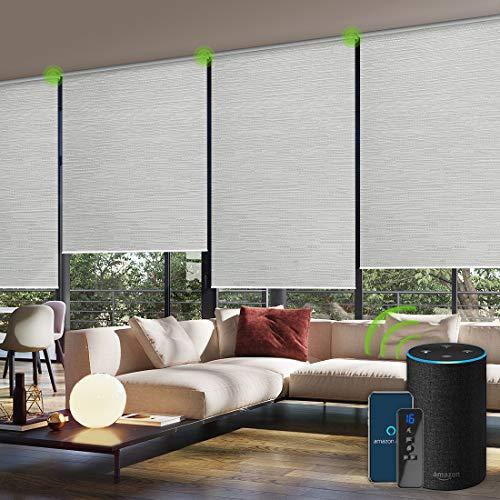 Yoolax Jacquard Elektrisches Rollo Alexa WiFi Smart Rolladen mit Akkumotor und Fernbedienung 100% Verdunkelung nach maß(Jacquard Weiß)