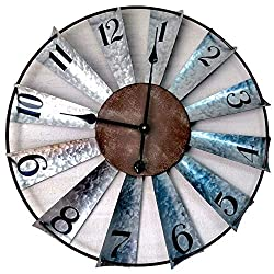 24 Inch Galvanized Windmill Clock Large Decorative Wall Clock Oversized Farmhouse Decor for Living Room,Non Ticking,Distressed Metal