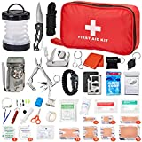 Survival Kit First Aid Kit: 128 in 1 Emergency Survival Gear and Equipment Gifts for Men Dad Women Cool Gadgets Includes Rain Poncho|Sleeping Bag|Flashlight|Night Light|Pocket Knife & Tools