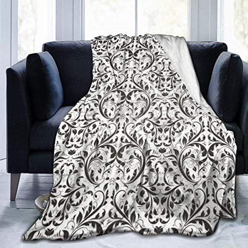 Damasco Patrón Floral Victoriano Abstracto Flores Reales Negro Blanco Manta De Viaje De Microfibra Suave Y Acogedora