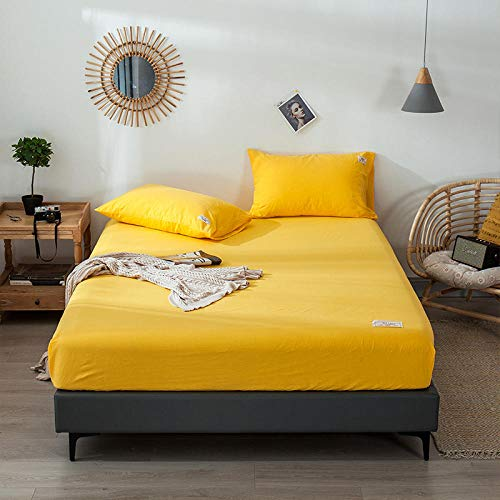 YFGY Mattress Protector Fitted Mattress Cover Double,Solid Color Cotton Printing Bed Mattress Set With Four Corners, Elastic Band Sheets Pillowcases yellow 150cmx200cm