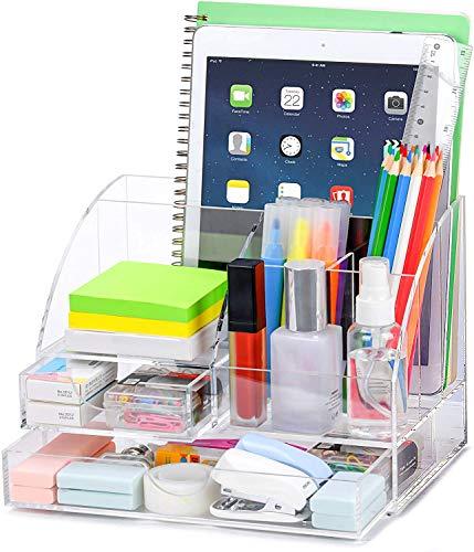 POPRUN Portaoggetti da scrivania,Organizer da scrivania in acrilico con portapenne e cassetto, Contenitori per cosmetici, organizer trucchi, trasparente
