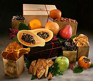 Tompkins Fruit Basket: 7 Luscious In-Season Fruits, 4 Dried Fruits (Cherries, Apple Rings, Mango and Plums), Roasted Almonds, and Biscotti in Our Bamboo Basket | Elegant Giving by Manhattan Fruitier