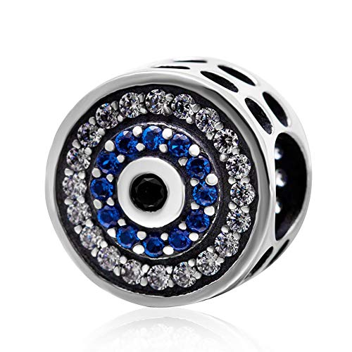 Blue Crystal Evil Eye Charm 925 Sterling Silver Lucky Beads Angel Birthstone Symbol Charm for Pandora Charms Bracelet (A)