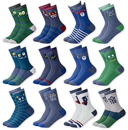 MC.TAM Calcetines de Colores Medias Para Niños Niñas 12 Pares 90% Algodón Oeko Tex Standard 100, 31-34, 12 pares FV003