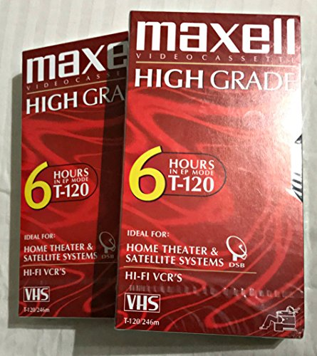 Best Prices! Maxell Premium High-Grade VHS Videocassette 120 Minutes, Set of 2