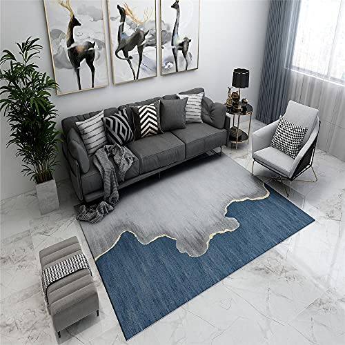 AU-SHTANG alfombras baño Alfombra Azul, diseño de Flujo de Agua Diseño Minimalista Moderno Desgaste Alfombra de Yoga Alfombra alfombras de Salon Modernas -Azul_40x60cm