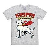 Logoshirt Camiseta Superman - El Súper Perro - Krypto - Camiseta DC Comics - Superdog - Krypto - Camiseta con Cuello Redondo Gris Vigoré - Diseño Original con Licencia, Talla L